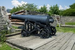 A historic cannon at Fork York in Toronto Royalty Free Stock Photography