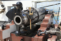 Historic cannon on Portsmouth warship Royalty Free Stock Photo