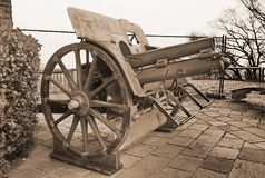 Historic cannon in pubblic park `La Rocca` Bergamo. Historic cannon in pubblic park `La Rocca` Bergamo, Lombardy, Italy Royalty Free Stock Photography