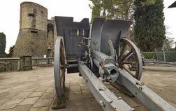 Historic cannons in pubblic park `La Rocca` Bergamo. Historic cannon in pubblic park `La Rocca` Bergamo, Lombardy, Italy Stock Image