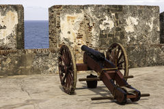 Historic cannon at the ready in old San Juan Puerto Rico Royalty Free Stock Photo