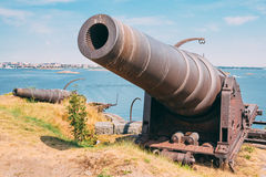 Historic cannon at Suomenlinna, Sveaborg maritime Stock Images