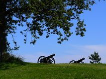 Historic cannons. A landscape with cannons in Denmark stock photography