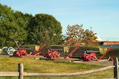 Fort McHenry National Monument in Baltimore, Maryland. Historic cannons flank the periphery of Fort McHenry, site of the defending American army during the siege Stock Photography