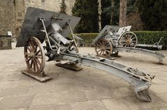 Historic cannons in pubblic park `La Rocca` Bergamo. Historic cannons in pubblic park `La Rocca` Bergamo, Lombardy, Italy Royalty Free Stock Photography