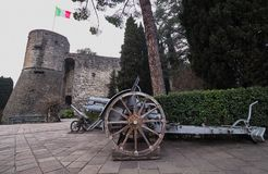 Historic cannons in pubblic park `La Rocca` Bergamo. Historic cannons in pubblic park `La Rocca` Bergamo, Lombardy, Italy Stock Photography