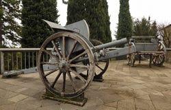 Historic cannons in pubblic park `La Rocca` Bergamo. Historic cannons in pubblic park `La Rocca` Bergamo, Lombardy, Italy Stock Photo