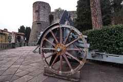 Historic cannons in pubblic park `La Rocca` Bergamo. Historic cannons in pubblic park `La Rocca` Bergamo, Lombardy, Italy Royalty Free Stock Images