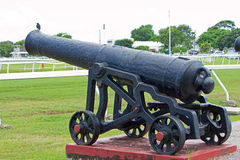 Historic Canon at the Garrison Savannah in Barbados Royalty Free Stock Photography