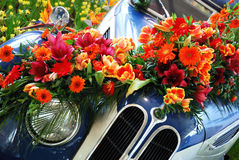 Historic Car and Flowers Royalty Free Stock Photo