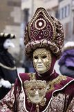 Historic carnival. With mask in hand Royalty Free Stock Image