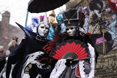 Historic carnival. With masks in the Schwaebisch Hall Old Town Stock Photos
