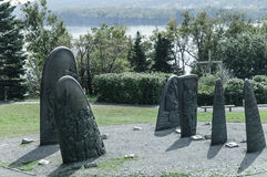 Historic cast iron sculptures of Gaspe Stock Photo
