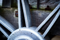 Historic cast iron train wheel detail. Detail of a wheel part of an historic train showing craftsmanship in construction and design royalty free stock photography