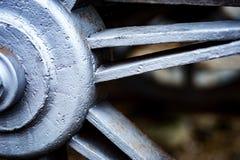 Historic cast iron train wheel detail stock photo