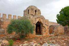 Historic Castle in Alania. Ancient basilica inside the walls of 13th Century Castle in Alania Royalty Free Stock Photos