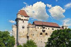 Historic castle on blue sky background. Liechtenstein, Lower Aus Stock Images