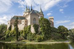 Historic castle Bojnice in the Slovak Republic. View of an old castle built in the 12th century stock photos