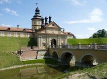 Historic castle in Nesvizh. Historic castle and bridge in Nesvizh royalty free stock photos