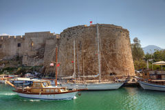 Historic castle and habour in Cyprus Royalty Free Stock Photos