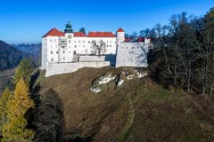 Historic Castle Pieskowa Skala near Krakow, Poland. Historic Renaissance castle Pieskowa Skala near Krakow in Poland. Aerial view in fall Stock Photo