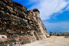 Historic castle of San Felipe De Barajas on a hill overlooking the Spanish colonial city of Cartagena de Indias on the Royalty Free Stock Photo