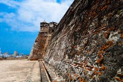 Historic castle of San Felipe De Barajas on a hill overlooking the Spanish colonial city of Cartagena de Indias on the Stock Photos