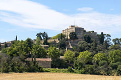 Historic castle and village on the hill, Ansouis in south of Fra Royalty Free Stock Photography