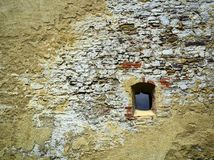 Historic castle wall with window. Background old historic castle wall with window stock photos