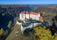 Castle Pieskowa Skala near Krakow, Poland. Historic castle Zamek Pieskowa Skala near Krakow in Poland. Aerial view in fall Royalty Free Stock Photos