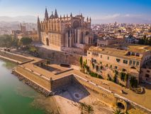 Historic Cathedral in Palma de Mallorca. Drone view. stock images