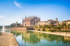 Historic Cathedral in Palma de Mallorca. stock photo