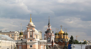 Historic cathedrals next to the Moscow Kremlin Stock Photos