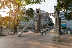 Historic Cavenagh Bridge, spanning the Singapore River Royalty Free Stock Photo