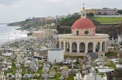 Historic Cemetery and Coastline of Old San Juan Puerto Rico royalty free stock photo