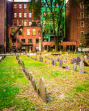 Historic cemetery and old buildings in Boston, Massachusetts. Stock Image