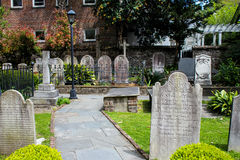 Historic Cemetery at St. Michael's Church, Charleston, SC. Headstones and iron fences mark the historic cemetary in Charleston, South Carolina Stock Images