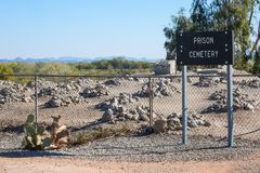 Prison cemetery, Yuma, Arizona. Historic cemetery, Yuma Territorial Prison Royalty Free Stock Photography