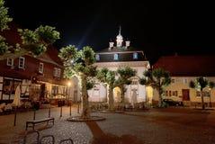 Historic center. Night shot of historic center of Heusenstamm near Offenbach, Hesse, Germany Stock Image