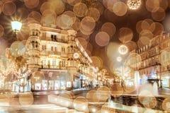 Historic center of Baden-Baden with Christmas lighting.  Blur ba Stock Image