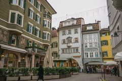 Historic center of Bozen during christmas time in winter, Italy. Europe royalty free stock photo