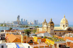 Historic center of Cartagena, Colombia with the Caribbean Sea. Visible on two sides Royalty Free Stock Photo
