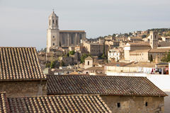 Historic center and Cathedral of Gerona Stock Photography