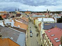 Historic center church in the background, Jihlava, Czech Republic Royalty Free Stock Photos