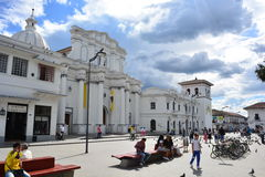 Historic center of the colonial town of Popayán, Colombia. Main church in the historic center of Popayán, a touristical destination in Colombia stock image