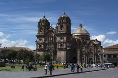 Cathedral and Square of Cuzco royalty free stock photography