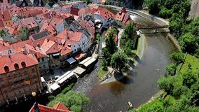 The historic center of Czech Krumlov stock video footage