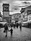 Historic Center of Este with characteristic clock tower. Stock Image