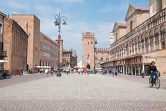 the historic center of Ferrara stock photos