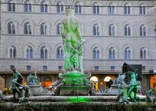 Historic center of Florence. Unesco world heritage center with statues lighted in green colors to symbolize the fights that occur in Iran Royalty Free Stock Images